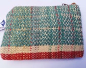 Ruby Jade Handwoven Twill & Plain Weave Small Pouch. Handmade Coin purse