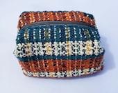 Oxidised Teal Handwoven Cuboid Case. Little Handmade Bag