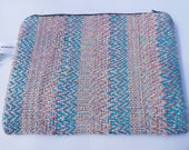 Subtle Shades Handwoven Twill Weave Pouch. Unique Cosmetic Case. Jewellery Bag