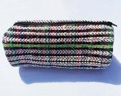 Multiple Stripes Handwoven Twill Weave Cylindrical Bag. Unique Makeup Bag. Pencil Case