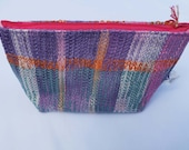 Little Ombre Triangles Handwoven Cosmetics Bag. Lilac Makeup Bag. Handmade Hand-Dyed Toiletry Bag