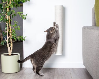 Tall Cat tree Wooden Cat wall scratching post with rope. Cat tower Long cat scratcher Cat pole wall Modern cat furniture Gift for cat lover