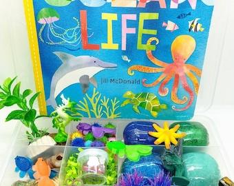 Ocean Life Playdough Sensory Kit, Ocean Playdough Kit, Sensory Kit with Sand, Ocean Sensory Kit, Playdough Sensory Kit with Book