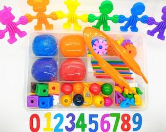 Toddler Learning Play Dough Sensory Kit, Play Dough Kit for Toddlers, Alphabet Counting Sensory Kit, Playdough Busy Box, Rainbow Sensory Kit