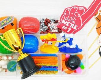 Sports Play Dough Sensory Kit, Sports Theme Playdough Kit, Play Dough Kit for Boys, Boys Playdough Kit, Busy Box