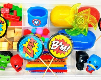 Superhero Play Dough Sensory Kit, Toddler Playdough Kit, Avengers Sensory Kit, Superhero Sensory Kit, Boys Playdough Kit