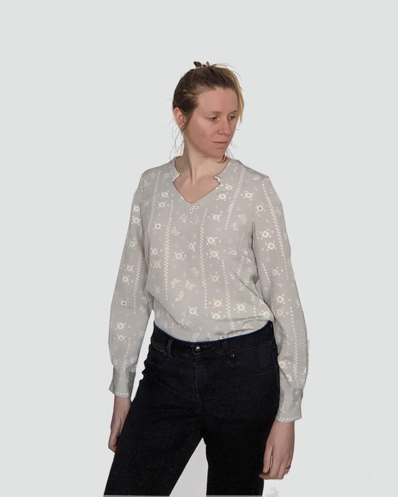 Vintage Kimono Silk Shirt Blouse Grey Butterflies image 0