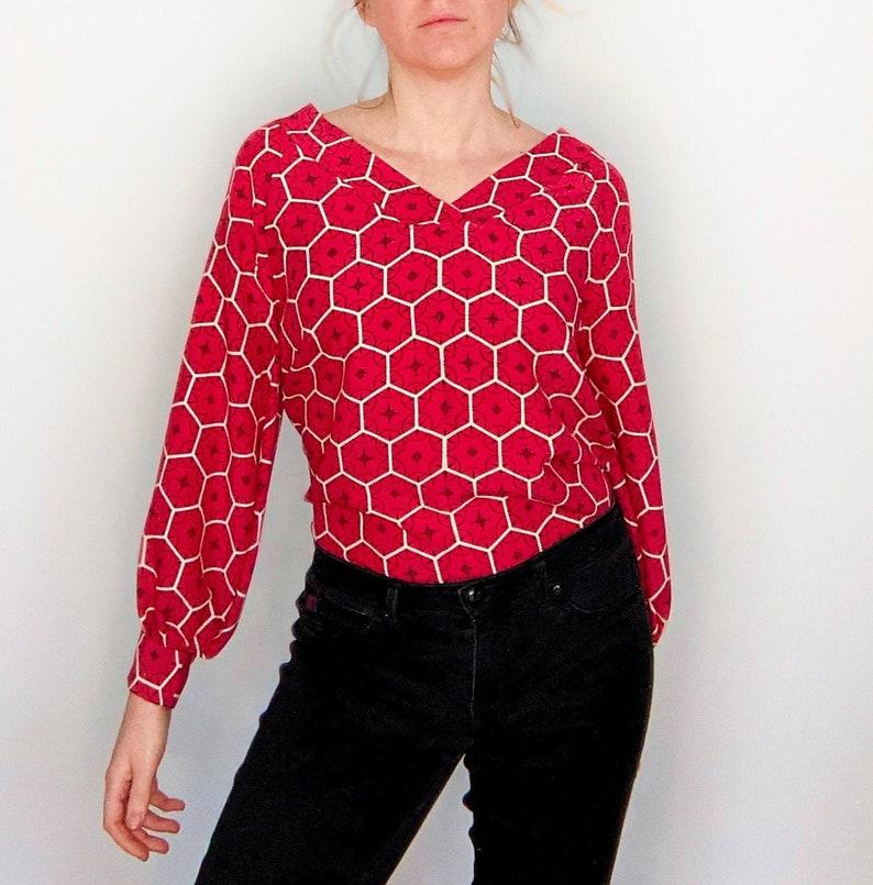 Vintage Kimono Silk Shirt Blouse Pink Hexagon image 0