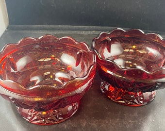 Scalloped Pedestal Dish 1920/'s Red Frosted Glass Compote Bowl Fruit Dessert Server GreenTreeBoutique Ruby Flash Serving Bowl