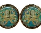 SET Of 2 Vintage Gold Gorgeous Octopus GLASS Green Cabinet Drawer Knob Pulls Steampunk Kraken Nautical Sea Diver Diving under water