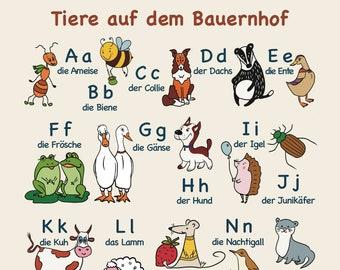 "Alphabet Poster (ABC) 70 x 50 cm ""Animals on the Farm"" - german, for beginners, preschoolers, nursery decoration, hand illustrated"