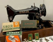 COMPLETELY SERVICED 1956 Singer 99 Portable sewing machine Oak Bentwood Case