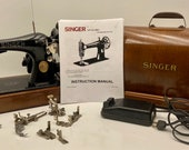 Completely SERVICED 1936 Singer 128 Sewing Machine quot CELTIC SWIRL quot Oak Bentwood Case
