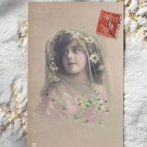 Dated 1912 Large Portrait Photo Postcard of GRETE REINWALD in Lace and a Beautiful Flowered /& Beribboned Bonnet Sepia Tint  RPPC