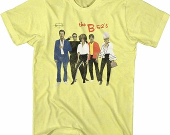 The B-52's Retro Band Photo Yellow Heather Adult T-Shirt