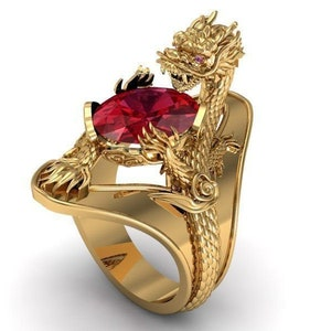 14k yellow gold over diamond dragon ring ruby diamond dragon ring ruby diamond  charm ring gift for him