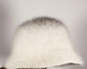 Vintage Y2K white fuzzy Bucket Hat