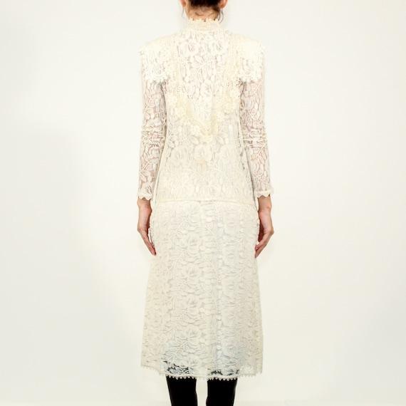 Vintage 80s Jessica McClintock Size 6 lace gown - image 4