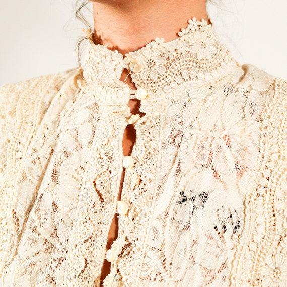 Vintage 80s Jessica McClintock Size 6 lace gown - image 8