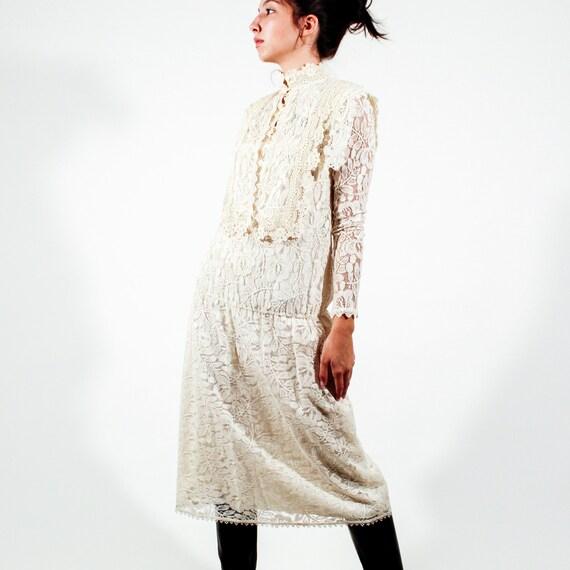 Vintage 80s Jessica McClintock Size 6 lace gown - image 1