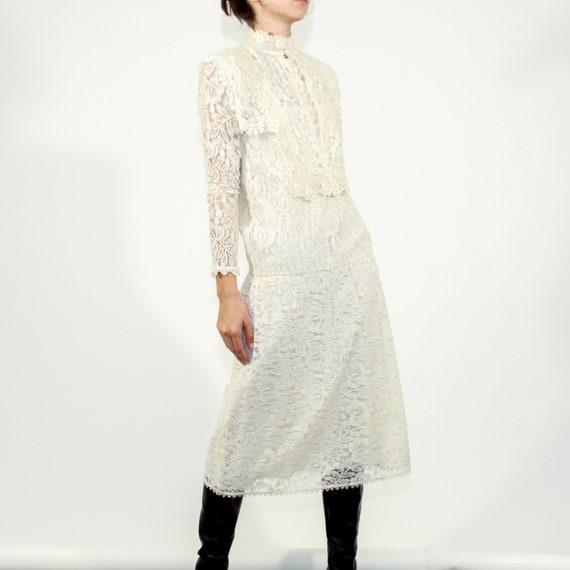 Vintage 80s Jessica McClintock Size 6 lace gown - image 3