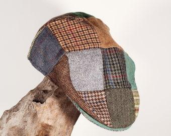 Vintage 100% pure Irish Wool patchwork Hanna Hats Newsboy hat
