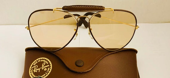 Vintage Aviator leather Brown Bausch & Lomb Ray Ba