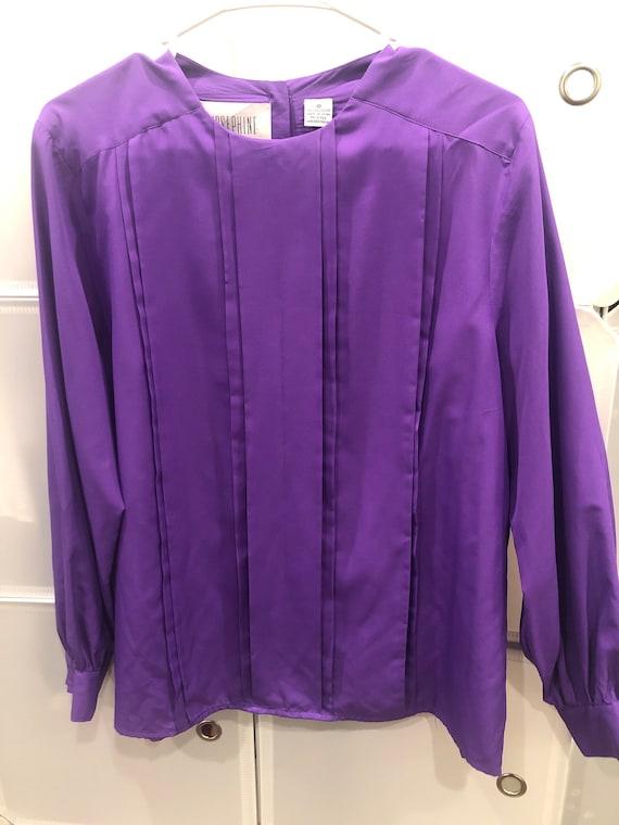 1980s/1990s Vintage Women's Purple Blouse/Shirt Si