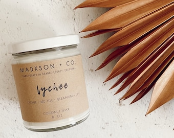 Summer Collection | Lychee Scented Candle | 100% Natural Coconut Wax | 8 Oz.