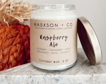 Raspberry Ale | Fall Collection | 100% Natural Coconut Wax | Cotton or Wooden Wick | 8 Oz.