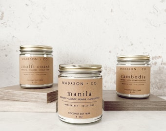 Wanderlust Collection   Travel-Inspired Scented Candles   Coconut Soy Wax   4 Oz   8 Oz