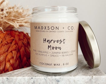 Harvest Moon | Fall Collection | 100% Natural Coconut Wax | Cotton or Wooden Wick | 8 Oz.