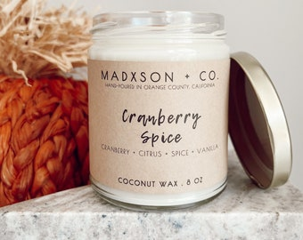 Cranberry Spice | Fall Collection | 100% Natural Coconut Wax | Cotton or Wooden Wick | 8 Oz.