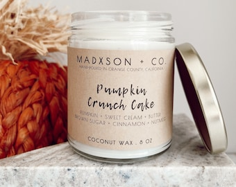 Pumpkin Crunch Cake | Fall Collection | 100% Natural Coconut Wax | Cotton or Wooden Wick | 8 Oz.