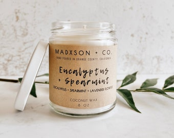 Eucalyptus + Spearmint   100% Natural Coconut Wax Scented Candle   8 Oz