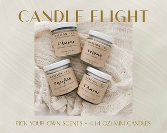 Candle Flight   4 Oz Mini Candles - Set of 4   Pick Your Own Scents