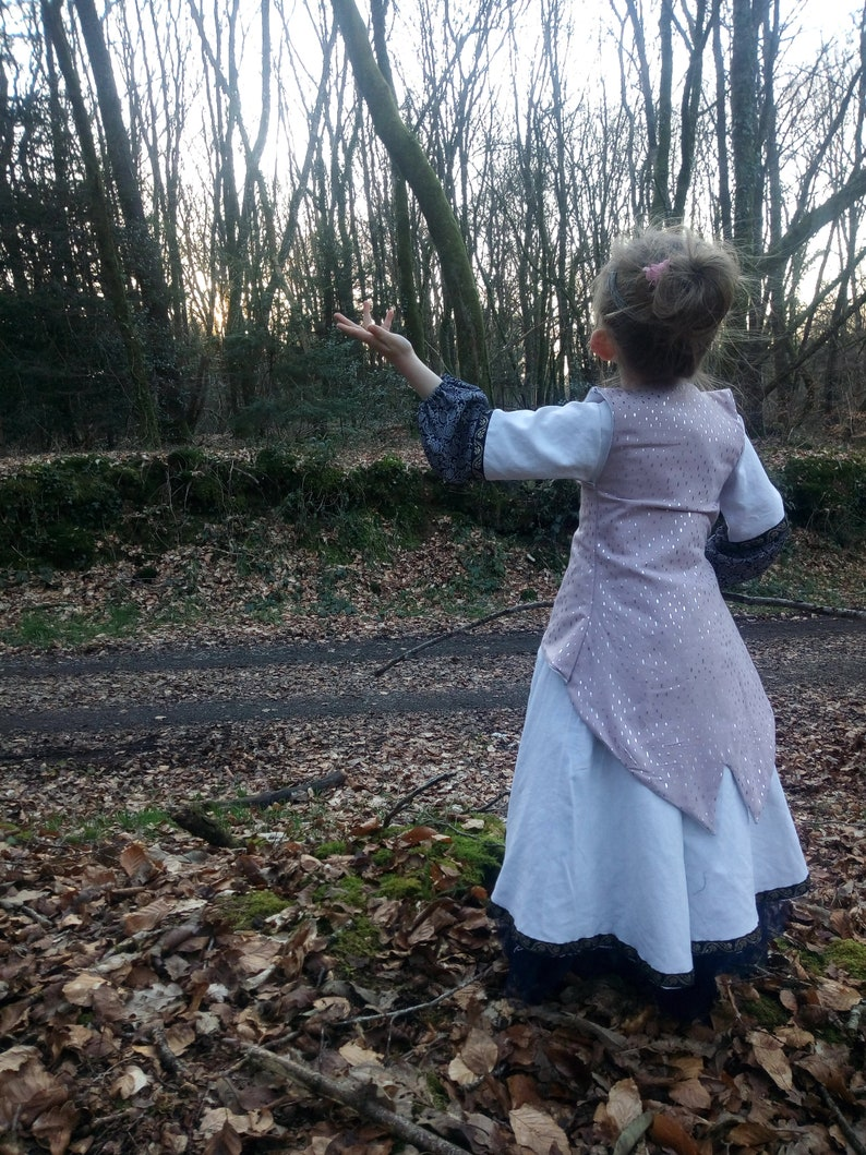 Dress medieval dress dress costume inspired medieval princess fairy forest enchanted upcycles fabrics