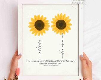 Personalized Sunflower Friendship Print, Custom Best Friend Gift, Friendship Gift, Bestie Sister Gifts, Family Custom Name BFF Birthday Gift