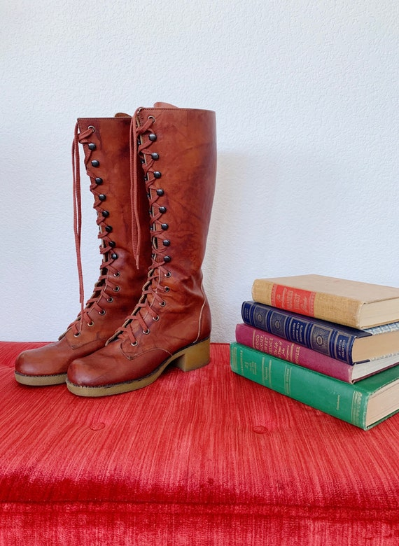 Vintage Knee High Boots, Orange Leather,  Lace Up