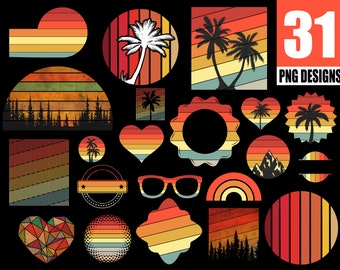Vintage Retro Designs Bundle | 31 Retro Sunsets And Vintage Palm Designs PNG Commercial License