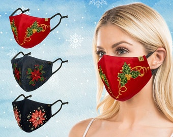 Young Threads One Pack, Fancy Embroidered Mask Perfect For Holidays, Christmas Mask, 3Layered Mask with Nose Wire & Adjustable straps