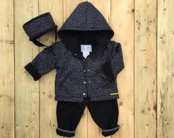 Boys Polar Fleece Set, 3 Pieces, Coat, Pant, Hat included, Toddler Polar Fleece Set, Kids hoodie jacket, Perfect for spring-Fall, Handmade