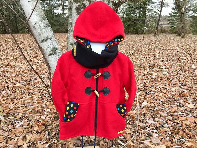 Kids duffle coat Red polar jacket Girls duffle coat Red image 0