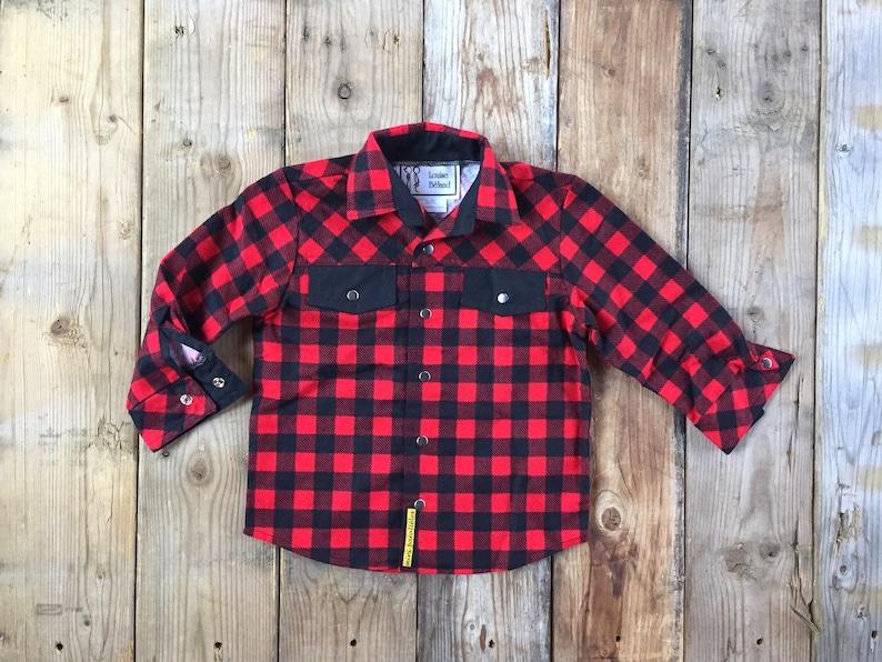 Kids lumberjack shirt Long sleeves red buffalo plaid shirt image 0