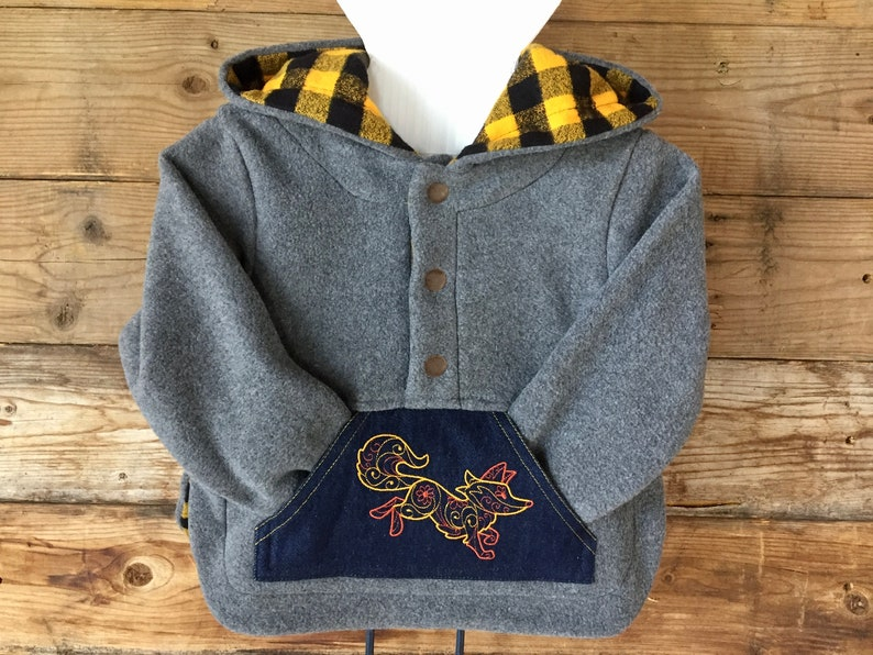 Kids hoodie Long sleeves grey hoodie with yellow buffalo image 0