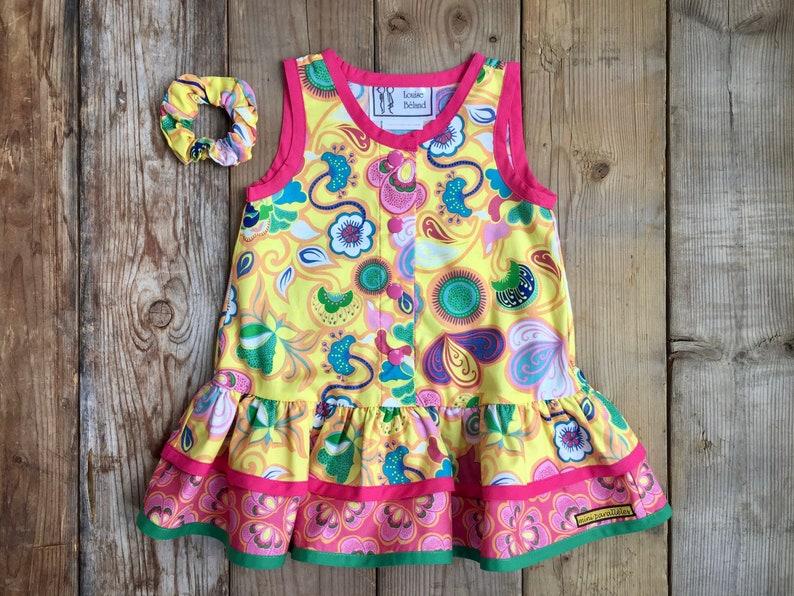 100/% cotton dress for girls Yellow tank dress Girls tank dress with flowers design handmade Yellow and pink sleeveless dress for girls