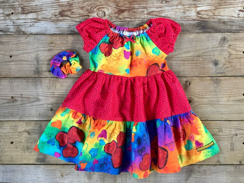 Red boho dress  Girls hippie dress with hearts design Red image 0