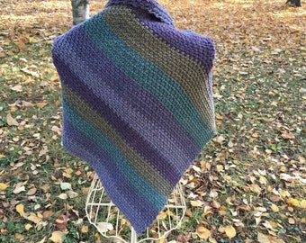 Crochet shawl, Acrylic multicolor crochet shawl, Triangle shawl, Warm for the shoulders, Gradient color, Gift for her, Handmade