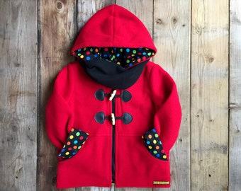 Kids duffle coat, Red Polar Fleece jacket, Girls duffle coat, Red polar jacket, Cotton lining, Long sleeves, Pockets and Hoodie, Handmade