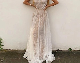 White Lace Summer Maxi Dress